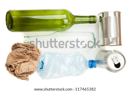Plastic paper glass and mteallic recyclable waste on white background - stock photo