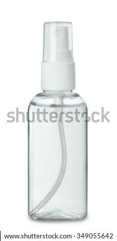 Plastic perfume spray bottle isolated on white - stock photo