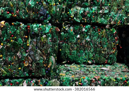 plastic pet bottle garbage as nice color background - stock photo