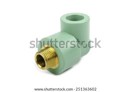 Plastic pipe connector isolated on white background - stock photo