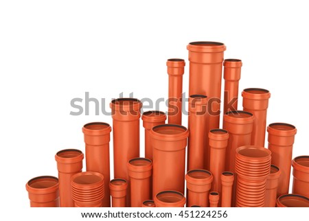 Plastic pipe on white background. Water pipes.