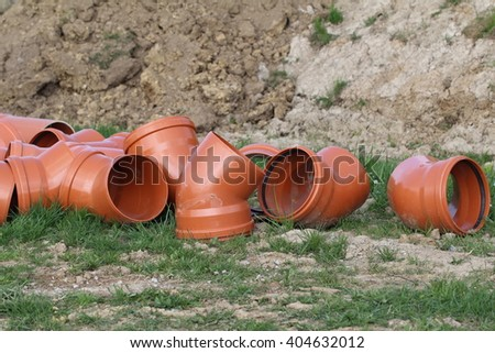 Plastic pipes - stock photo