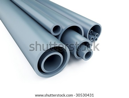 plastic pipes are isolated on a white background