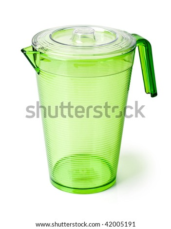 plastic pitcher on white background - stock photo