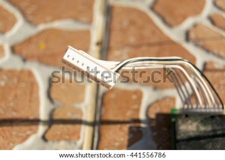 plastic plug connectors  - stock photo