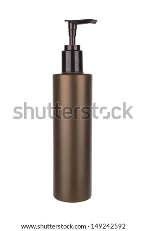 Plastic pump soap bottle without label isolated on white background  - stock photo
