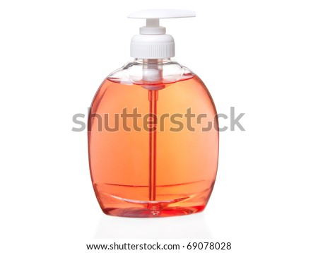 Plastic pump soap bottle without label on white - stock photo
