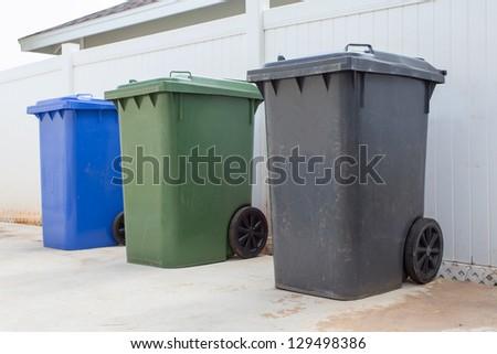 plastic recycle bin - stock photo