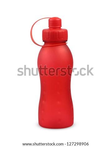 plastic red bottle on white background. - stock photo