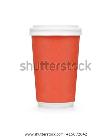 Plastic red coffee cup on white background