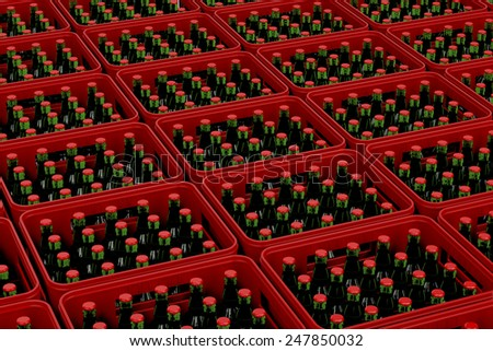 Plastic red crates with lager beer - stock photo