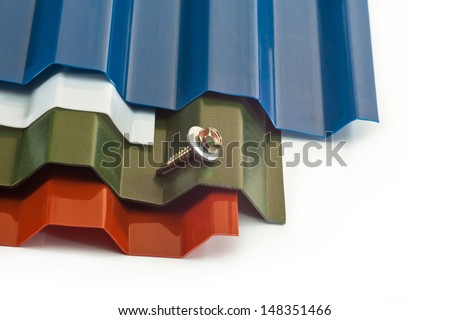 Plastic roof for gazebo, sheds, barns of different colors and a screw for mounting on a white background - stock photo