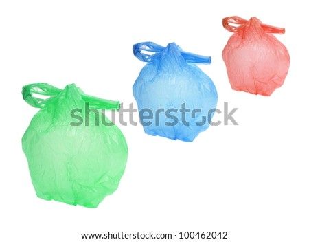 Plastic Shopping Bags on White Background
