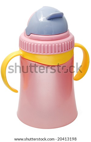 Plastic sippy cup, purple with violet cover, isolated on white background - stock photo