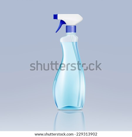 plastic spray bottle with cleaning liquid - stock photo