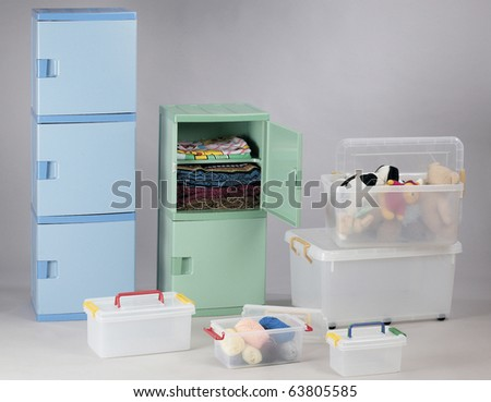Plastic Storage drawers and plastic storage box for convenience. - stock photo