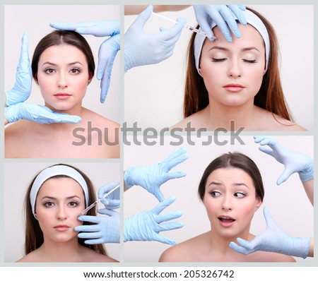 Plastic surgery collage - stock photo