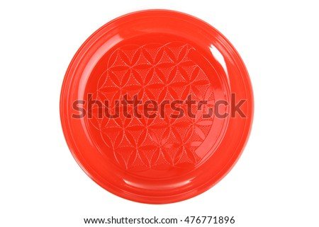Plastic tableware on a white isolated background