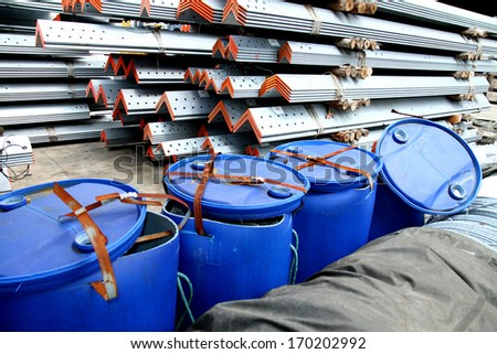 Plastic tank in warehouse - stock photo