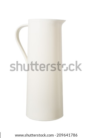 plastic thermos flask isolated on white - stock photo