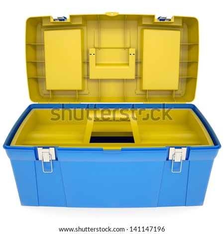 Plastic tool box. Isolated render on a white background - stock photo