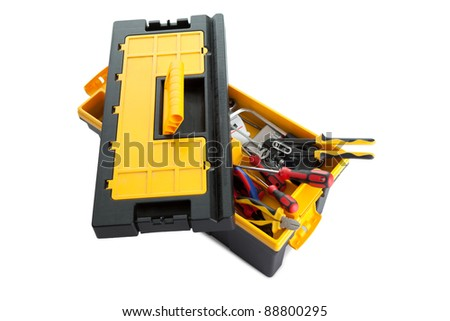 Plastic tool box with tools on white background - stock photo