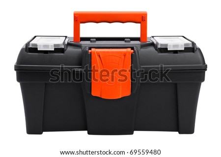 plastic toolbox on white background - stock photo