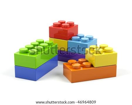 Plastic toy blocks on white background. - stock photo