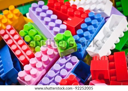plastic toy bricks - stock photo