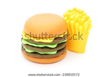 plastic toy hamburger  and french fried on white background - stock photo