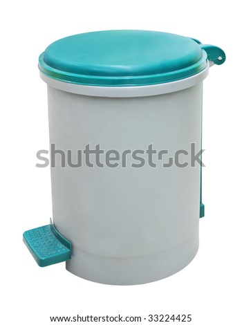 plastic trash can, isolated on a white background. - stock photo