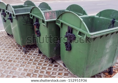 Plastic waste container in the city of Belgrade, Serbia  - stock photo