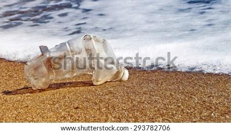 plastic waste washed on beach  - illustration based on own photo image - stock photo