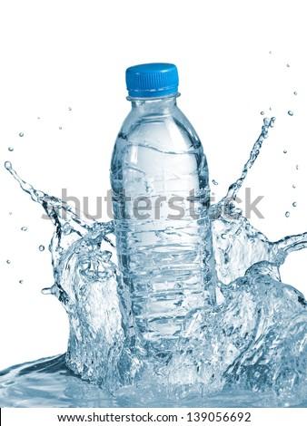 Plastic water bottle splash - stock photo
