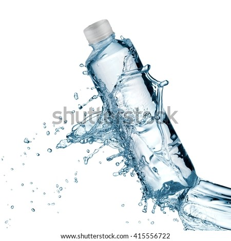 Plastic water bottle splash with drops - stock photo