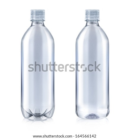 Plastic water bottle with transparent cap isolated on white - stock photo