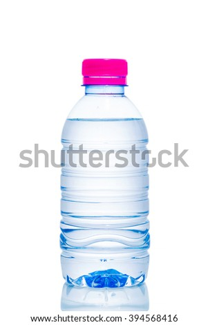 Plastic water bottles isolated white background. - stock photo