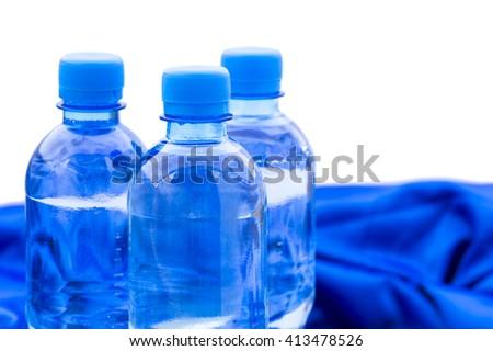 plastic water bottles standing - stock photo