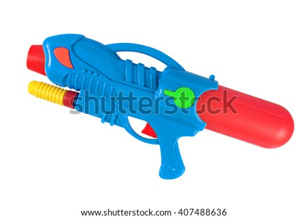 Plastic water gun isolated over white