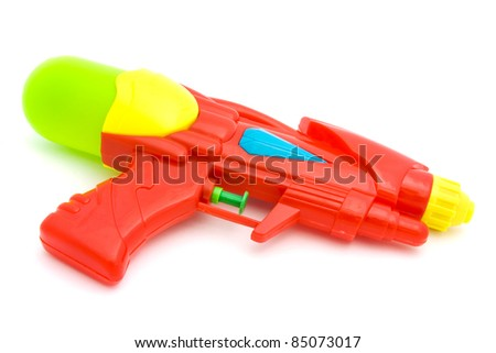 Plastic water gun isolated over white - stock photo