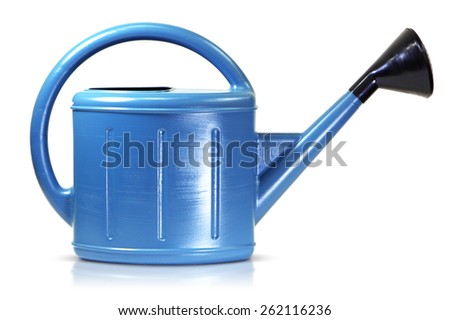 Plastic watering can isolated - stock photo