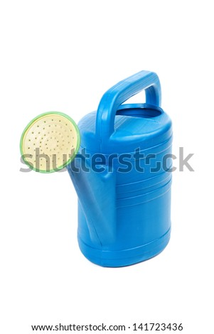 Plastic watering can isolated on a white background - stock photo