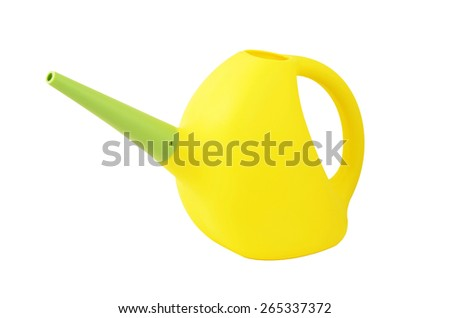Plastic watering pot, isolated on white background - stock photo