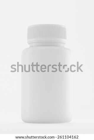 Plastic white medicine bottle with on white background. - stock photo