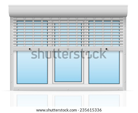 plastic window behind metal perforated rolling shutters illustration isolated on white background - stock photo