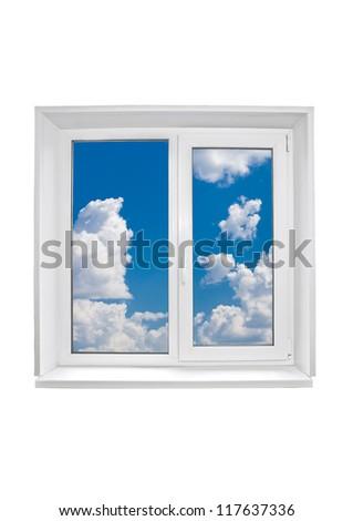 Plastic window on white background - stock photo