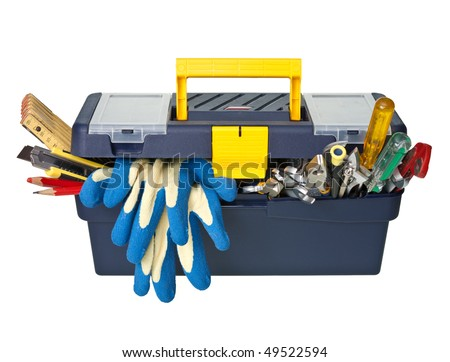 Plastic workbox with assorted tools on white background