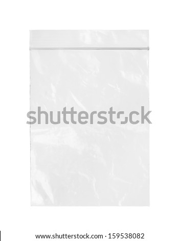 Plastic zipper bag (with clipping path) isolated on white background - stock photo