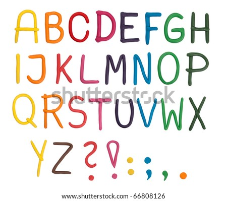 Plasticine alphabet isolated on white
