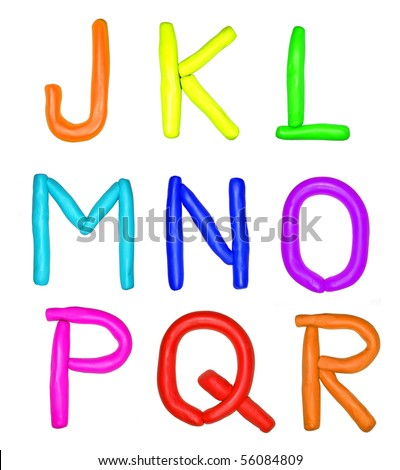 Plasticine alphabet isolated over white background - stock photo